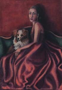 Signora con cane 2014Olio su tela 70x100
