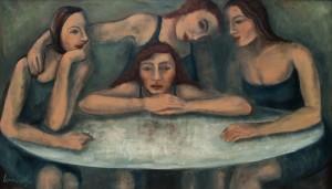 Le amiche di Olga 1990 olio su tela 120x70